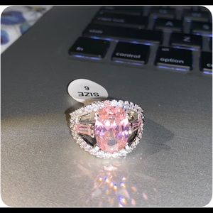 Jewelry - Oval Pink White Topaz 18 K White Gold Plated Ring